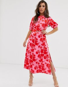 Read more about Asos design puff sleeve wrap front midi dress with cutout in floral print-multi