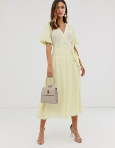 Read more about Asos design puff sleeve wrap midi skater dress in dobby spot-yellow