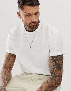 Read more about Asos design relaxed t-shirt with roll sleeve in heavyweight interest slub fabric-white