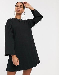 Read more about Asos design rib oversized smock dress in black