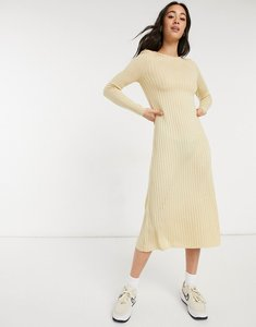 Read more about Asos design ribbed maxi dress with shoulder pads and relaxed hem-neutral