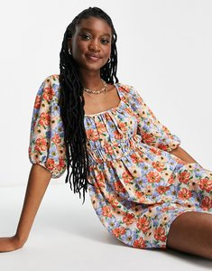 Read more about Asos design ruched bust mini skater dress with puff sleeve in bold floral print-multi