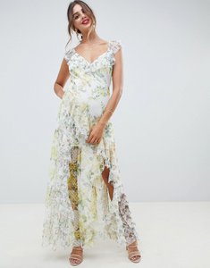Read more about Asos design ruffle maxi dress in floral dobby mesh with lace-multi