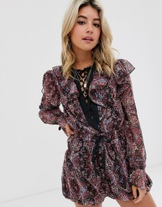 Read more about Asos design ruffle playsuit with ties in floral chiffon-multi