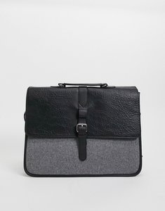 Read more about Asos design satchel in black faux leather and melton panel