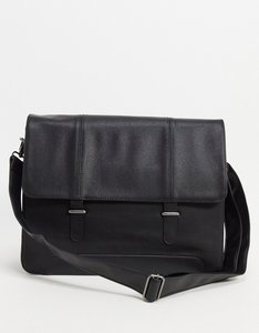 Read more about Asos design satchel in black faux leather with saffiano emboss