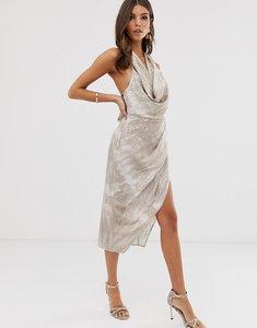 Read more about Asos design satin drape midi dress in neutral croc print-multi