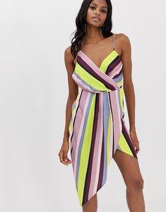 Read more about Asos design satin drape neck midi dress in rainbow stripe-multi
