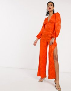 Read more about Asos design satin jumpsuit with blouson sleeve in orange floral jacquard