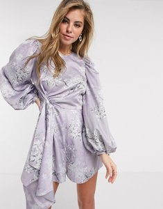 Read more about Asos design satin playsuit with drape detail in romantic floral print-multi