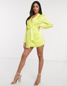Read more about Asos design satin wrap tux playsuit in lime-yellow