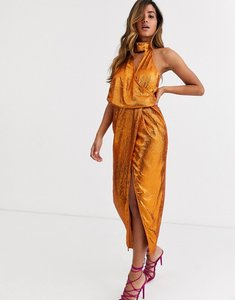 Read more about Asos design scarf neck drape midi dress on all over sequin-brown