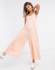 Read more about Asos design scoop neck smock jumpsuit in peach spot print-multi