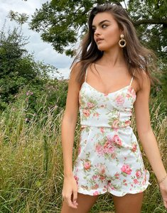 Read more about Asos design scuba cupped playsuit with frill hem in girly floral print-multi