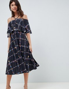 Read more about Asos design scuba midi pleated dress in check floral print-multi