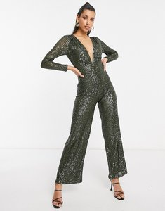 Read more about Asos design sequin long sleeve deep plunge jumpsuit in dark green