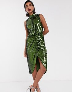 Read more about Asos design sequin midi pencil midi dress with drape front-green