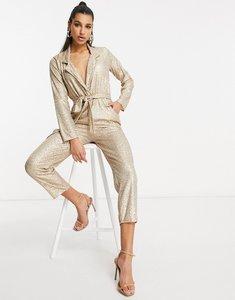 Read more about Asos design sequin tux jumpsuit in gold