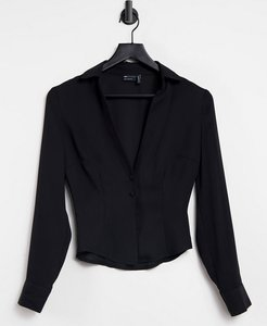Read more about Asos design sheer slim fit open shirt in black-no colour