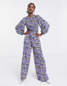 Read more about Asos design shirred long sleeve wide leg jumpsuit in floral print-multi
