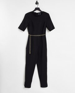 Read more about Asos design short sleeve jumpsuit with gold chain in black
