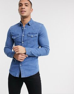 Read more about Asos design skinny fit western organic denim shirt in mid wash-black