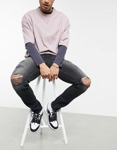 Read more about Asos design skinny jeans with less thirsty wash in black with heavy rips