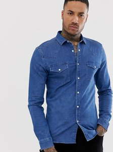 Read more about Asos design skinny western denim shirt in mid wash-blue