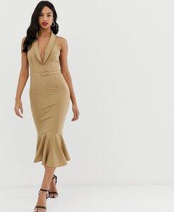 Read more about Asos design sleeveless tux button through midi dress with self belt-multi