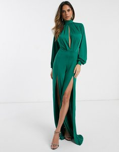 Read more about Asos design slinky jumpsuit with blouson sleeve and split leg-green