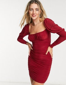 Read more about Asos design slinky long sleeve ruched bust mini dress in burgundy-red