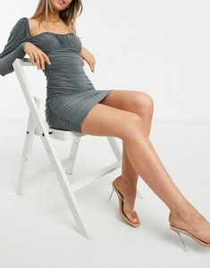 Read more about Asos design slinky long sleeve ruched bust mini dress in grey
