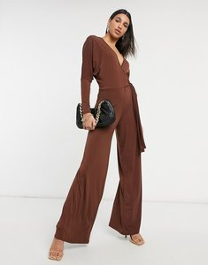 Read more about Asos design slinky wrap batwing jumpsuit in brown