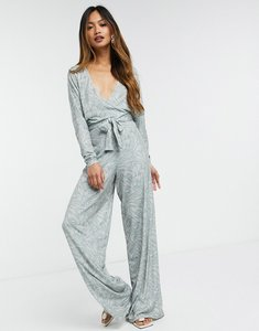 Read more about Asos design slinky wrap batwing jumpsuit in pastel abstract print-multi