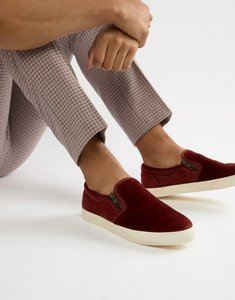 Read more about Asos design slip on plimsolls in burgundy faux pony hair with zips-red