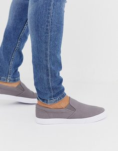 Read more about Asos design slip on plimsolls in grey canvas