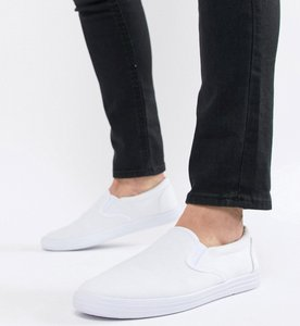Read more about Asos design slip on plimsolls in white canvas