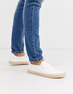 Read more about Asos design slip on plimsolls in white leather look with gum sole
