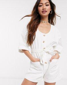 Read more about Asos design soft denim button through playsuit in ecru-white