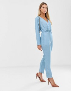 Read more about Asos design soft denim wrap front jumpsuit in lightwash blue