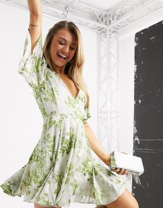 Read more about Asos design soft floral godet mini dress with jaquard foil and green floral print-multi