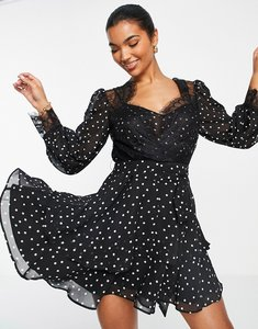 Read more about Asos design soft mini skater dress in polka dot with eyelash lace details-multi