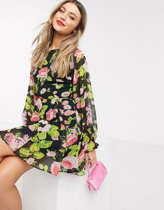 Read more about Asos design soft mini skater dress with open back in floral print-multi