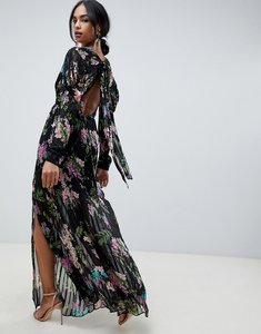 Read more about Asos design solid and stripe maxi dress in dark floral print-multi