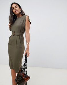 Read more about Asos design split cap sleeve midi pencil dress with buckle-green