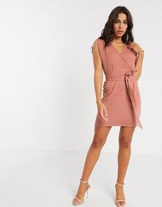 Read more about Asos design split sleeve cap sleeve wrap mini dress with obi belt in terracotta-pink