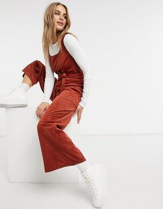 Read more about Asos design square neck cord tie waist jumpsuit in burgundy-red