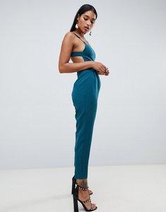 Read more about Asos design square neck jumpsuit with gold trim detail-blue