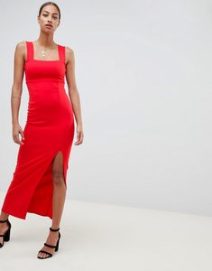 Read more about Asos design square neck maxi dress with thigh split-red