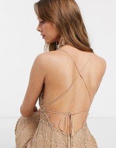 Read more about Asos design square neck midi pencil dress in lace-multi